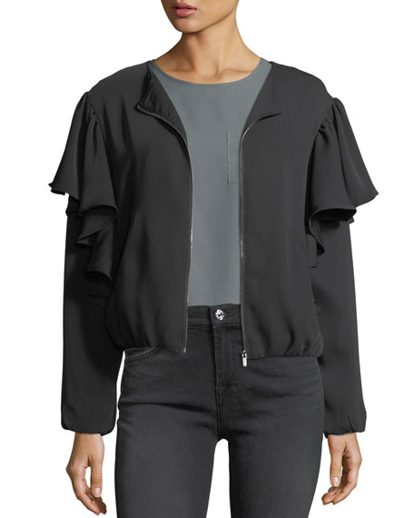 Free Generation Ruffled Satin Zip-Front Jacket
