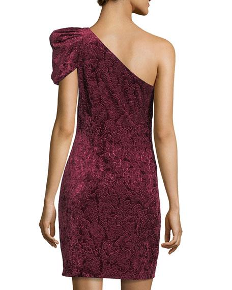 One-Shoulder Velvet Mini Cocktail Dress