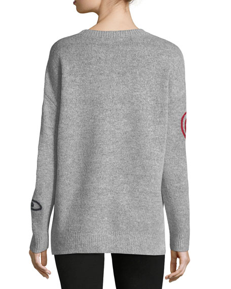 Embroidered Heather-Knit Sweater