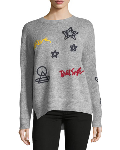 Free Generation Embroidered Heather-Knit Sweater