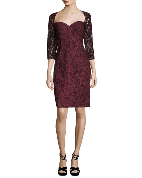 Aidan Mattox Sweetheart-Neck Lace Cocktail Dress