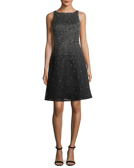 Aidan Mattox Beaded High-Neck Sleeveless A-Line Cocktail Dress