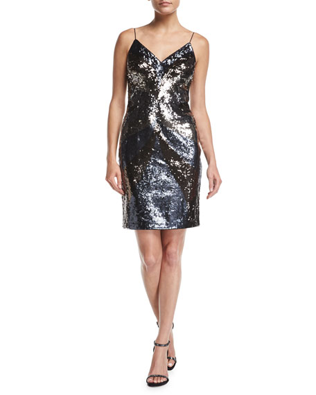 Aidan Mattox V-Neck Sleeveless Sequin Short Cocktail Dress