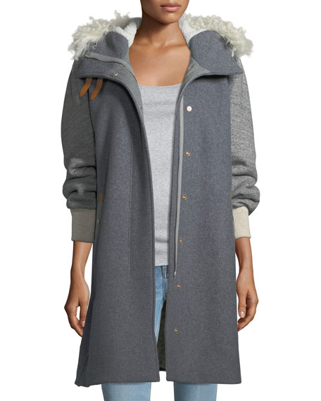Laporta Mixed-Media Hooded Coat w/Shearling Fur