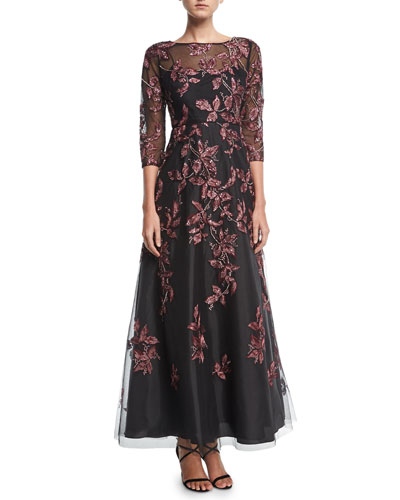 Clearance sale evening dresses at neiman marcus beaded embroidered long sleeve illusion evening gown junglespirit Gallery