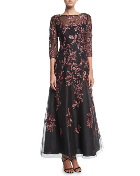 Aidan Mattox Beaded Embroidered Long-Sleeve Illusion Evening Gown