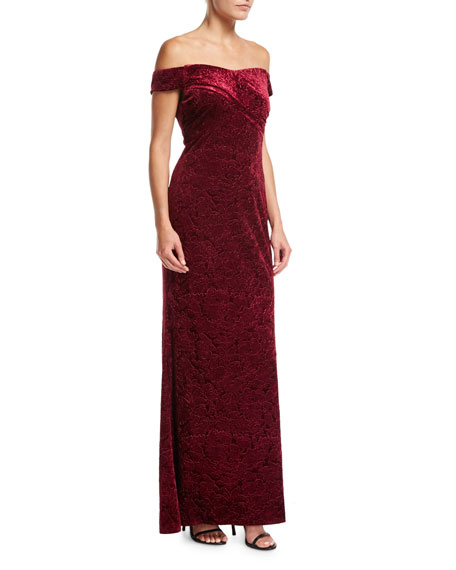Aidan Mattox Off-the-Shoulder Embossed Velvet Evening Gown