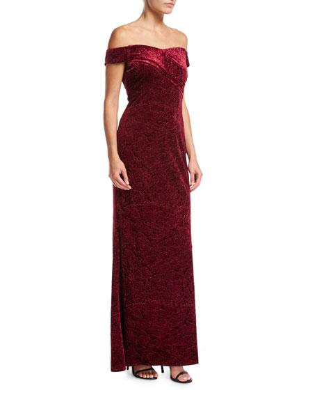 Aidan Mattox Off-the-Shoulder Embossed Velvet Evening Gown