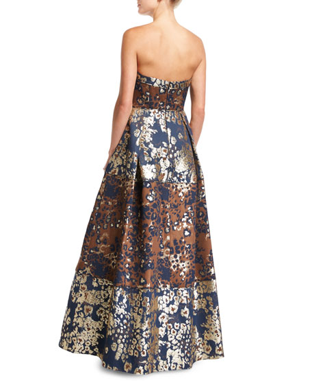 Strapless Animal-Print Metallic Brocade Evening Gown