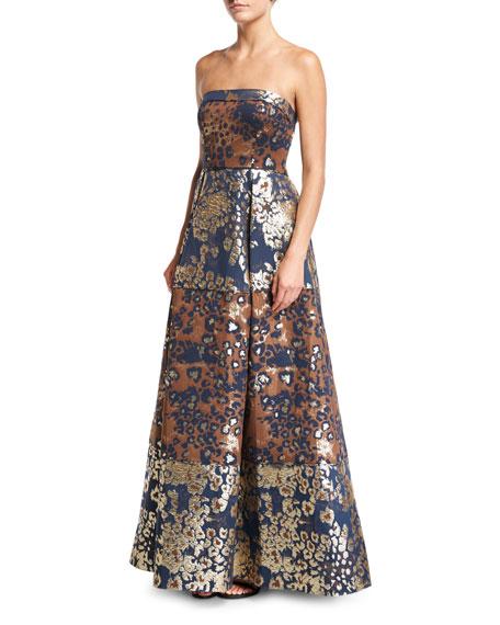 Aidan Mattox Strapless Animal-Print Metallic Brocade Evening Gown
