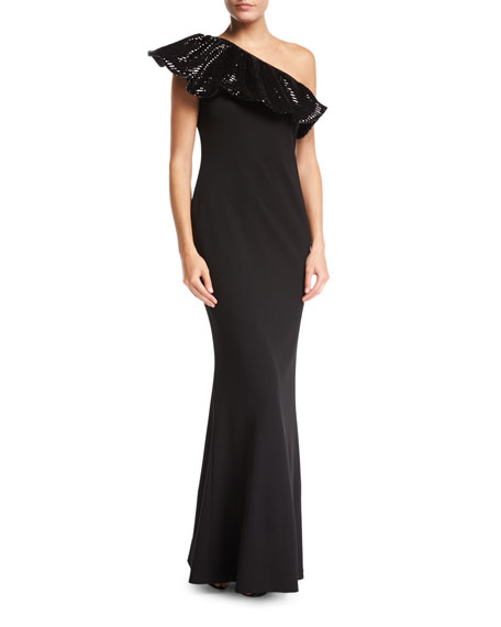Aidan Mattox One-Shoulder Sequin & Crepe Column Evening