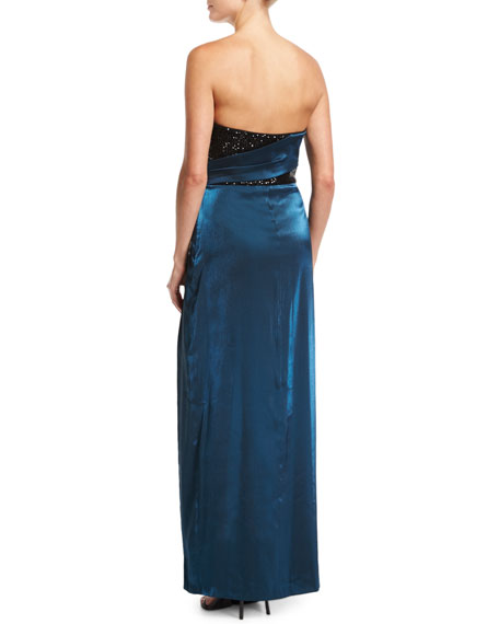 Strapless Sequin Short Dress w/ Satin Gown Overlay