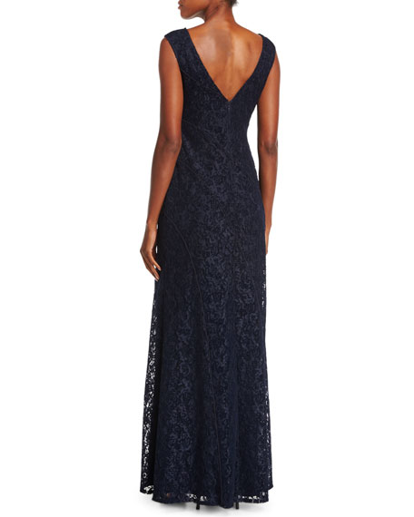 Cap-Sleeve Lace Evening Gown w/ High Slit