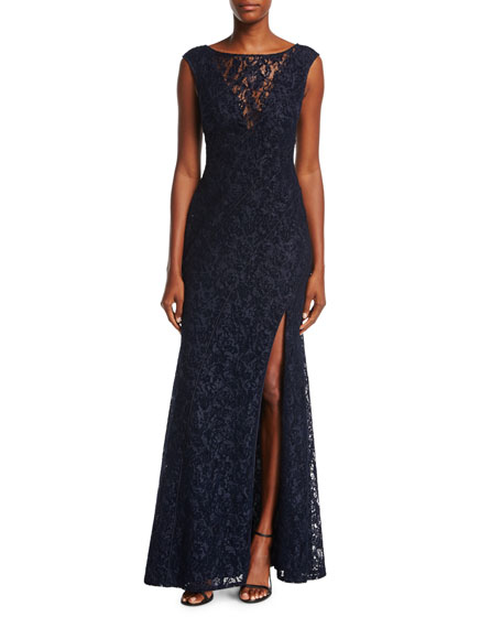 Aidan Mattox Cap-Sleeve Lace Evening Gown w/ High