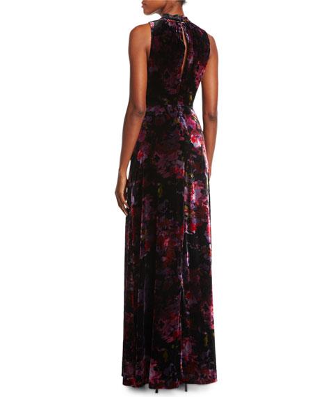 Mock-Neck Sleeveless Floral-Print Velvet Evening Gown