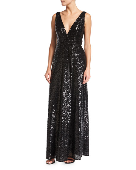 Sleeveless Sequin Wrap Evening Gown