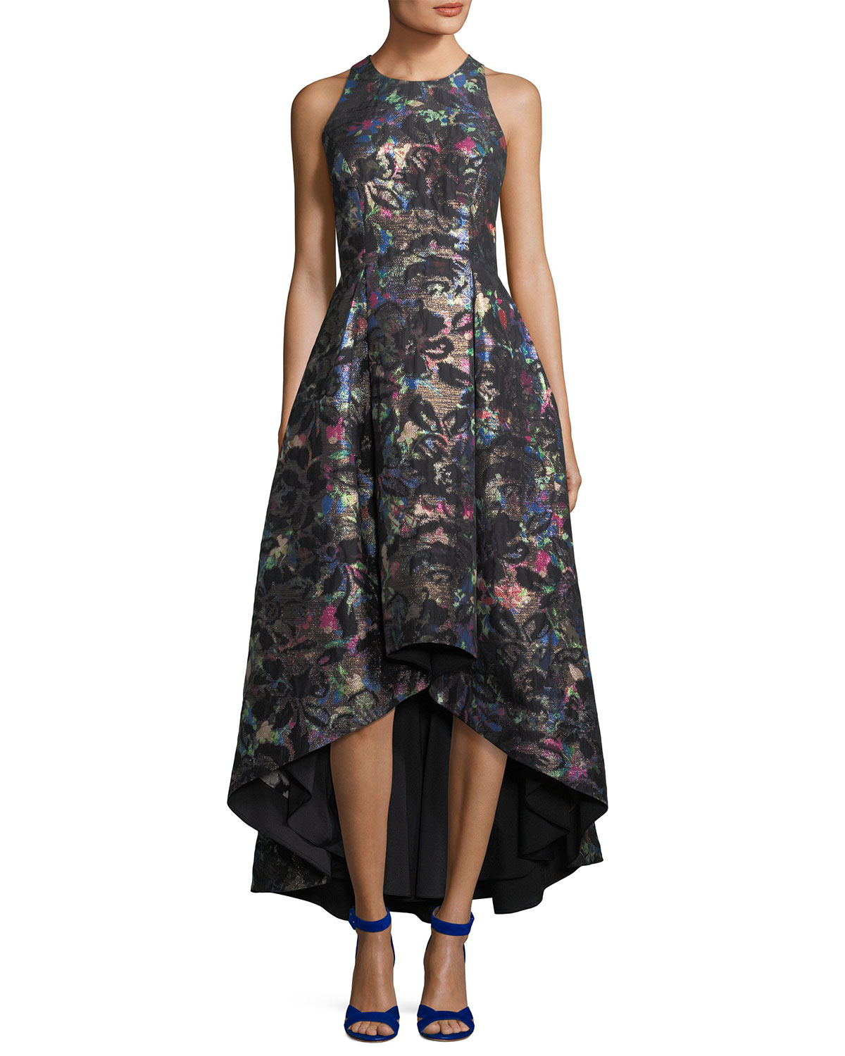 642cdb6a8c00 Aidan by Aidan Mattox Sleeveless Printed Jacquard Metallic High-Low Dress