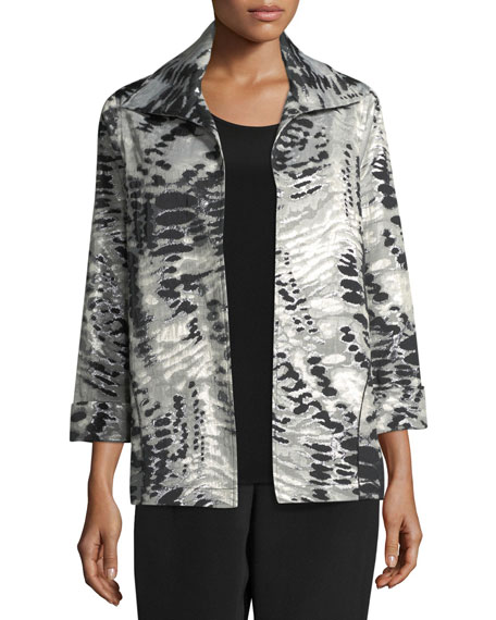 Caroline Rose Abstract Animal-Print Jacket, Plus Size