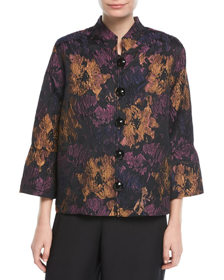 Festive Floral Bell-Sleeve Jacket, Plus Size