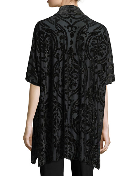 Shimmered Burnout Caftan Cardigan, Plus Size