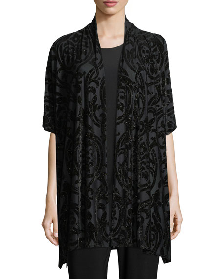 Caroline Rose Shimmered Burnout Caftan Cardigan, Plus Size