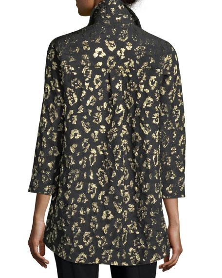 Golden Leopard-Print Boyfriend Shirt, Petite