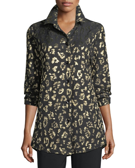 Golden Leopard-Print Boyfriend Shirt, Plus Size
