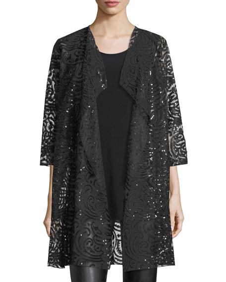 Caroline Rose Sequined Lace Draped Jacket