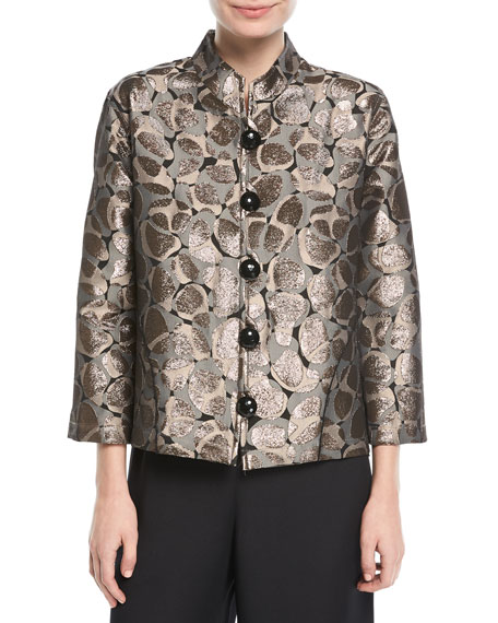 Caroline Rose Mod Metallic Easy Mandarin Jacket, Plus