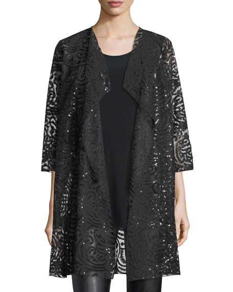 Caroline Rose Sequined Lace Draped Jacket, Plus Size