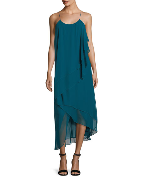 Haute Hippie Asymmetric-Layers Sleeveless Chiffon Midi Cocktail