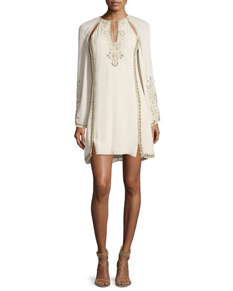 Haute Hippie Galaxy Cutout Long-Sleeve Embellished Cocktail Dress