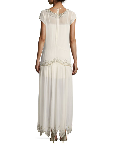 Galaxy V-Neck Cap-Sleeves Embellished Evening Gown