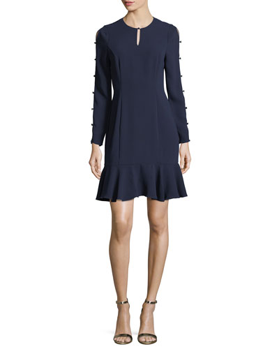 Wyvis Long-Sleeve Flounce-Hem Dress