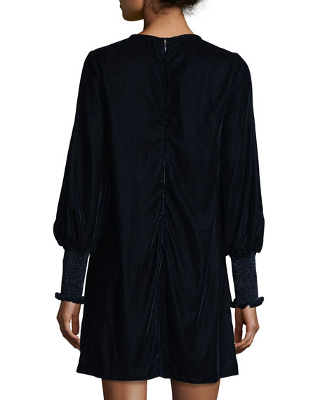 Dores Bishop-Sleeve Velvet Dress