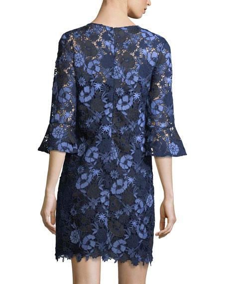Jemima Bell-Sleeve Lace Shift Dress