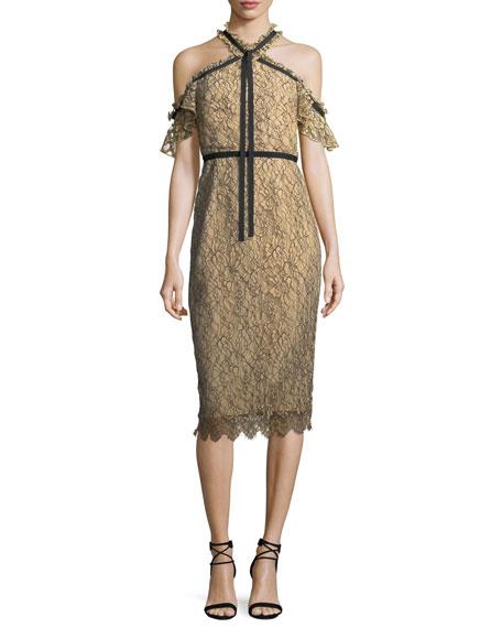 Aleah Cold-Shoulder Lace Midi Dress