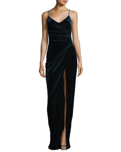 Bowery Sleeveless V-Neck Velvet Evening Gown