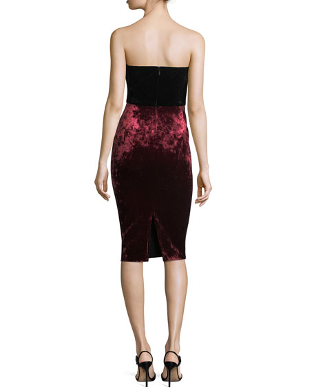 Rumor Strapless Bonded Velvet Cocktail Sheath Dress