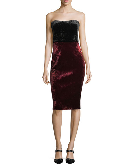 Black Halo Rumor Strapless Bonded Velvet Cocktail Sheath