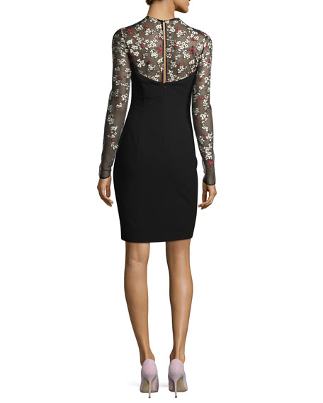 Chantilly Cocktail Sheath Dress w/ Floral-Embroidered Mesh Yoke