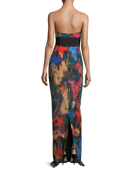 Catania Printed Strapless Evening Gown
