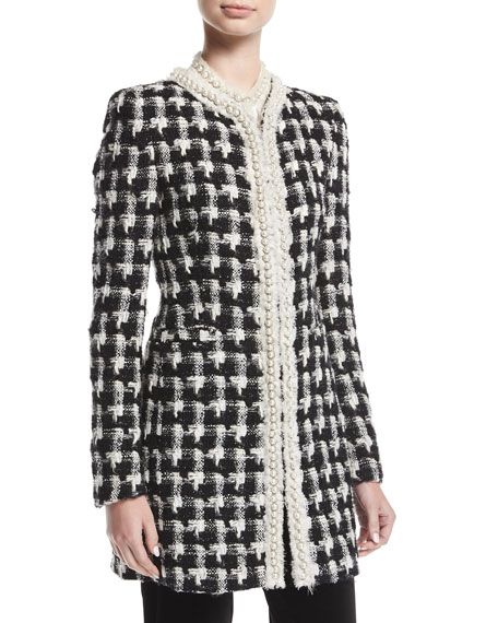 Alice + Olivia Andreas Mid-Length Collarless Tweed Jacket