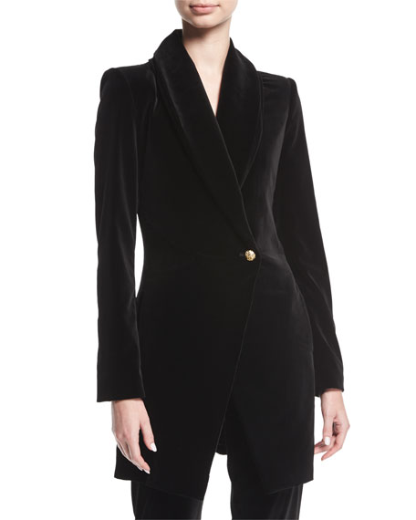 Alice + Olivia Vance Crossover Sueded Long Coat