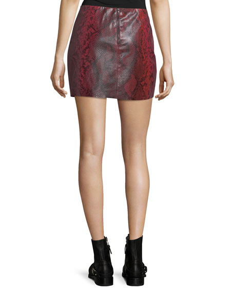 Elana Printed Lamb Leather Mini Skirt