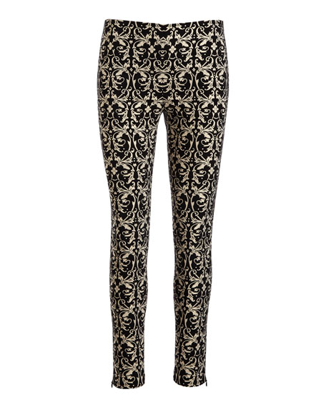 Royce Side-Zip Damask Jacquard Leggings