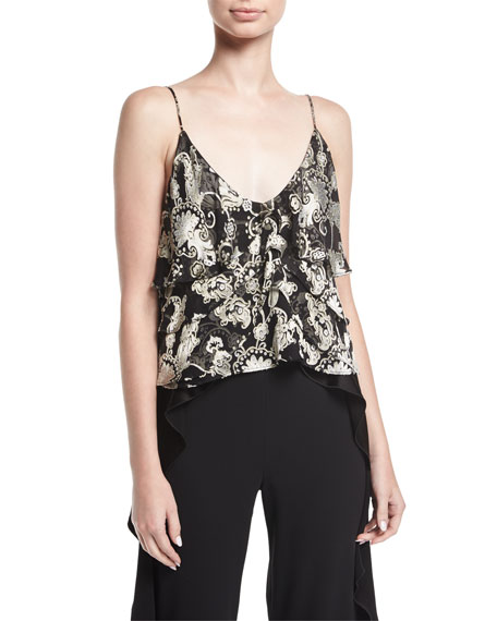 Alice + Olivia Vanessa Tiered Devoré Camisole Top