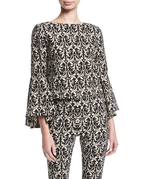 Alice + Olivia Baska Boat-Neck Bell-Sleeve Damask Blouse