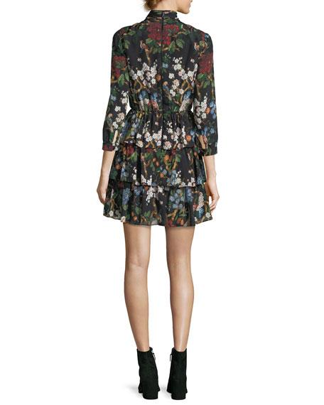Breann Tiered Tie-Neck Floral-Print Dress