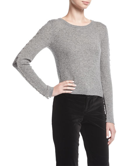 Sparrow Crewneck Grommet-Sleeve Pullover Sweater